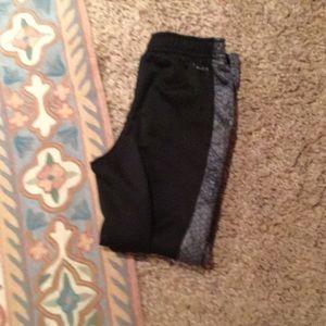 Black and gray long pants